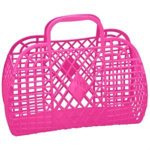 Large Retro Basket - Hot Pink   Sunjellies   Unique Gifts for Children   Oscar & B   UK