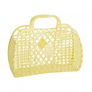 Large Retro Basket - Yellow   Sunjellies   Unique Gifts for Children   Oscar & B   UK