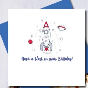 Blast Off Birthday Card | Marina B | Unique Gifts | Oscar & B | United Kingdom